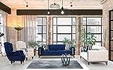Juego de sofás: dos sofás cama de tres plazas con sistema de apertura de cama abatible y respaldo; microfibra azul y marfil, ideal para hall hoteles y zonas de salón.