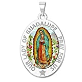 PicturesOnGold.com Our Lady of Guadalupe Religious Medal Oval - 3/4 Inch X 1 Inch in Sterling Silver