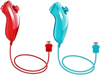 Poulep 2 Packs Nunchuk Nunchuck Controllers Joystick Gamepad compatiable for Nintendo Wii Wii U Console (Blue and Red)