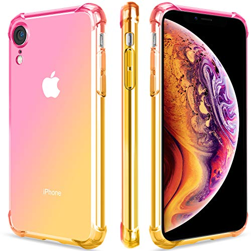 SALAWAT for iPhone Xr Case, Clear iPhone Xr Case Cute Gradient Slim Anti Scratch TPU Phone Case Cover Reinforced Corners Shockproof Protective Case for iPhone Xr 6.1inch (Pink Gold)