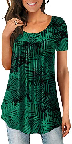 LONGYUAN Woman Stretch Soft Tops Tee Comfort Blouse Short Sleeve Cotton Flower Print Tunics Leaf Green Large