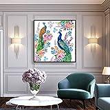 YuanMinglu Pintura al óleo Abstracta de Pavo Real sobre Lienzo y caligrafía nórdica decoración del hogar póster e impresión Arte Mural decoración de la Sala Pintura sin Marco 30X30CM