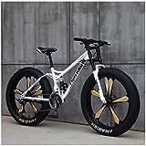 MKWEY 26 Pouces VTT Homme Femme, Bikes Vélo Hardtail Fat Tire, Double Cadre de Suspension et Fourche à Suspension Tout Terrain,21 Speed,White 5 Spoke