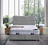 Cama con somier Madrid con canapé de tela, cama doble de hotel, superficie de descanso, 180 x 200 cm, color gris