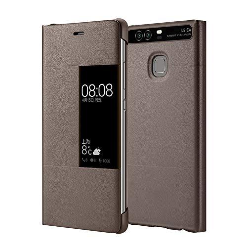 MOONCASE Klappetui Leder Tasche Schutzhülle Hülle Flip View Cover für Huawei P9 Plus Braun