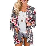 YONHEE Cárdigans tipo kimono floral para mujer - Estampado floral de gasa [Traje de baño] traje de baño para damas [Grande -Claro Gris]
