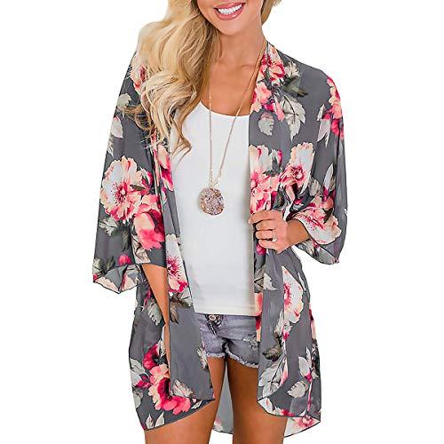 JORYEE Damen Florale Kimono Cardigan - Tops Cardigan Chiffon Shawl Bluse Sommer Boho Strand Cover up Leichte Jacke Oberteil (Blumen-grau, M)