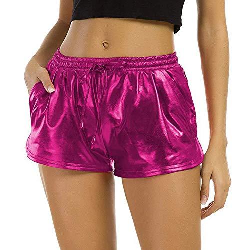 Demarkt Damen Shiny Metallic Rave Booty Tanz Shorts Hose Sommerhosen Pants Kurz Hosen Leggings
