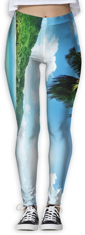 EWDVqqq Girl Yoga Pant Boat Clear Sky Clouds Sea High Waist Fitness Workout Leggings Pants