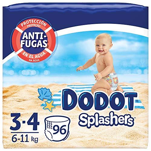 Dodot Pañales Bebé Bañador Splashers, Talla 3-4 (6-11 kg), 96 Pañales Desechables con Protección Anti-Fugas en el Agua