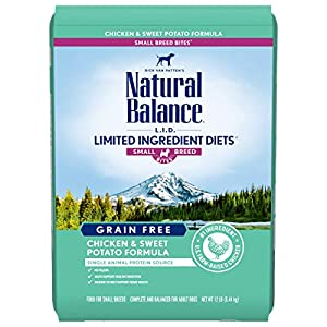 Natural Balance L.I.D. Limited Ingredient Diets Small Breed Bites Dry Dog Food, Chicken & Sweet Potato Formula, 12 Pounds