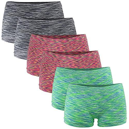 Fabio Farini Damen Panties 6er Pack Hipsters Boxershorts nahtlos, Seamless aus weichem Microfaser-Gewebe 2X Neon Rot/2x Neon Grün/2x Schwarz L-XL