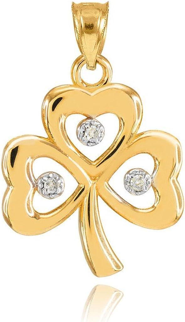 14k Yellow Gold Shamrock Charm Three Diamond Clover Leaf Bracelet Charm