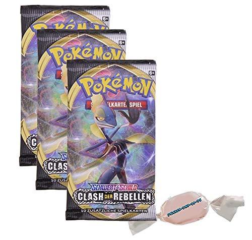 DE Pokemon Schwert & Schild - Clash der Rebellen - 3 Booster - Deutsch zusätzlich 1 x Sticker-und-co Fruchtmix Bonbon