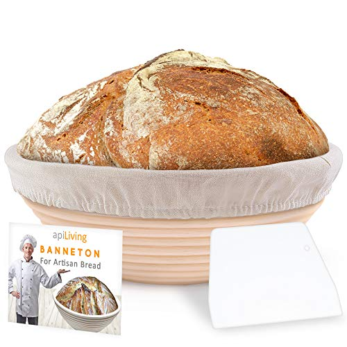 9 Inch Bread Banneton Proofing Basket - Sourdough Bread Baking set with Dough Scraper & Liner by apiLiving - Natural Rattan Cane Material - Perfect Bread Bowl for Home Bakers & Professionals