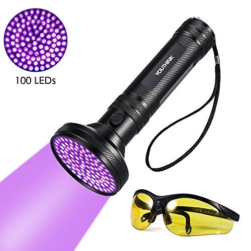 EBTOOLS Linterna UV Detector de orina para Manchas de Mascotas Brillante 100 LED Antorcha de luz Negra con Gafas de Sol UV