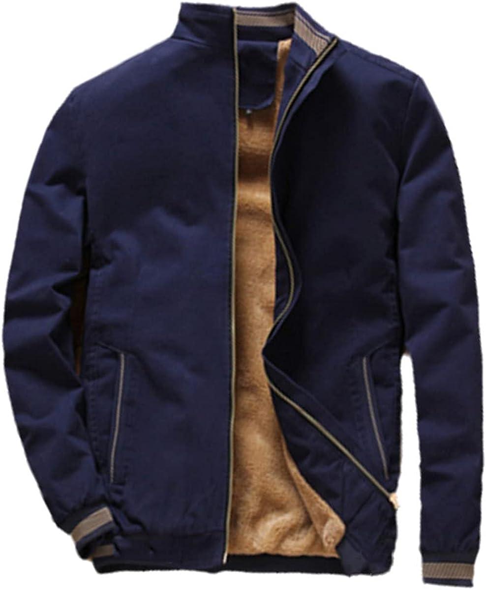 Autumn Men's Bomber Jacket Casual Men's Jacket Fleece Thick Warm Windbreaker Baseball Jacket