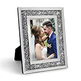 Afuly Glass Picture Frame 5x7 Silver Crystal Present for Wedding and Friends Desk Top Display and Stand, Unique Gifts for Mother's Day