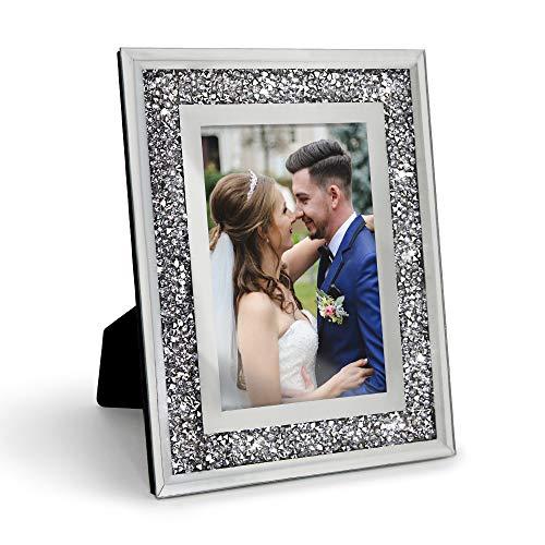 Afuly Cornice Foto Argento 13x18 Vetro Glitter Diamante Specchio Cornice per Foto Decorazione in Cristallo Regalo di Nozze Desktop