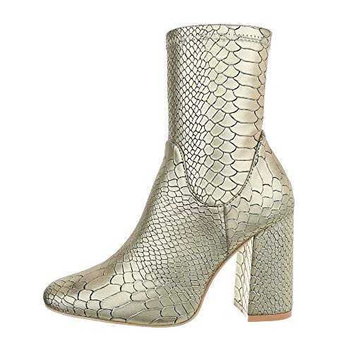 Ital-Design Damenschuhe Stiefeletten High Heel Stiefeletten Synthetik Gold Gr. 40