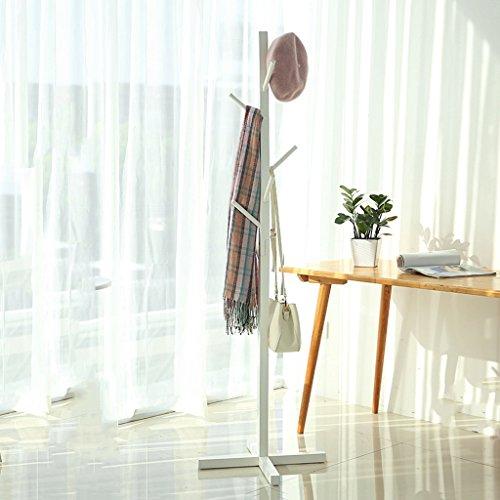 NYDZDM Perchas de madera maciza para dormitorio, estante de ropa europeo simple vertical para sombreros (color: blanco)