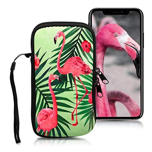 kwmobile Custodia in Neoprene con Zip per Smartphone M - 5,5' - Astuccio portacellulare a Sacchetto con Cerniera - Borsa Verticale - Fenicottero tra Le Palme Rosa/Verde/Verde Chiaro