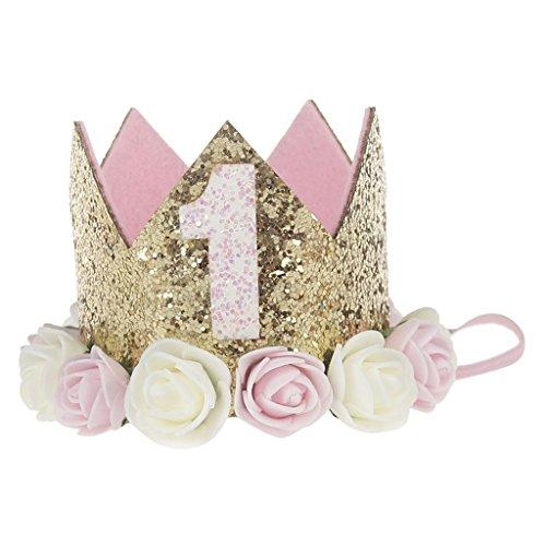 Healthy Clubs Geburtstag Krone 1 Jahr Baby Geburtstagskrone Haarband Haarschmuck Prinzessin Blumen Königskrone Hüte für Party Dekorationen (3)
