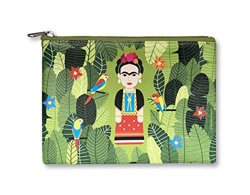 Designer Souvenirs | Bolso de Mano para Mujer con diseño Frida Kalho | Piel Sintética 100% Eco-Friendly | Neceser Portatodo | 22x16,5x1 cm | Colección Viva la Vida Viva la Vida