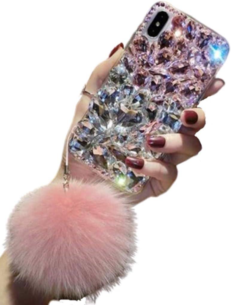 Aulzaju Galaxy Note 10 Bling Diamond Case Samsung Note 10 Luxury Fashion Glitter Soft TPU Handmade Case Note 10 Cute Sparkle Rhinestone Case for Girls Women with Furry Ball Wrist Strap-Pink