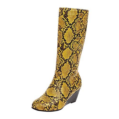 Stivali Donna Tacco Alto, Plateau Stringati Stivaletti Tacco Grosso Fibbia Moda, Sandali High Heels Alto Lavoro Festa Elegante Scarpe (stivali donna-B19-Yellow,39.5)