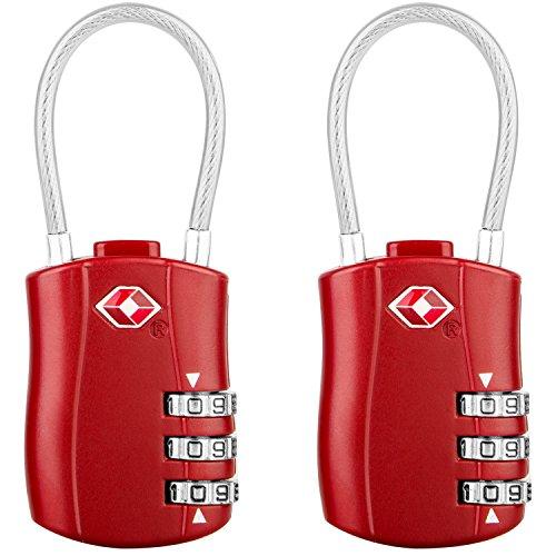 [2 Stück] TSA Gepäckschlösser, Diyife 3-stelliges Sicherheitsschloss, Kombinationsschlösser, Codeschloss für Reisekoffer Gepäcktasche Etui etc. (Rot)