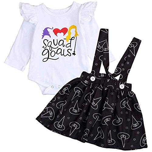 Toddler Girls Dress Kids Halloween Clothes Cartoon Pumpkin Witch Ghost Print Dress Outfits (12-18 Months, White Ruffle Romper+Black Suspender Skirt)