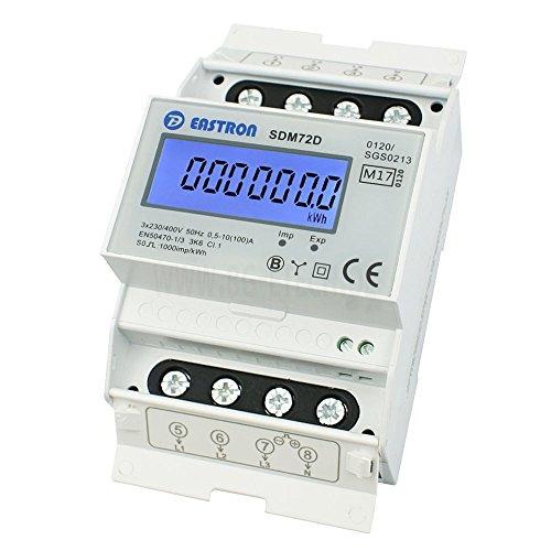 LCD Drehstromzähler Stromzähler MID2019 geeicht S0 für Hutschiene 3x5(100) A