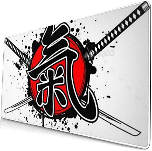 xiangcheng Extra großes Mauspad -Hieroglyphe Ki Japan Schreibtisch-Mauspad - 15,8 x 29,5 Zoll XL Schutz-Tastatur Schreibtisch-Mausmatte