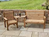 STAFFORDSHIRE GARDEN FURNITURE | WOODEN GARDEN SET | ONE BENCH, ONE CHAIR AND TRIANGLE TRAY | DELIVERED FULLY ASSEMBLED FURNITURE