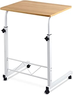 Mobile Laptop Desk Adjustable Height 360°Rotation Wooden Table Top Metal Frame Notebook Computer Stand Up Cart Study Work ...
