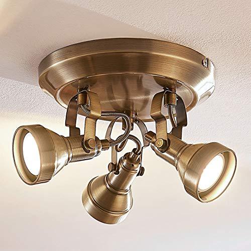 Lindby LED Deckenleuchte 'Perseas' (Vintage, Industriell) in Bronze aus Metall u.a. für Wohnzimmer & Esszimmer (3 flammig, GU10, A+, inkl. Leuchtmittel) - Lampe, LED-Deckenlampe, Deckenlampe