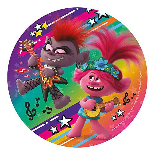 Dekora- Decoracion Tartas de Cumpleaños Infantiles en Disco de Oblea de DreamWorks Trolls-20 cm, Multicolor (160158)