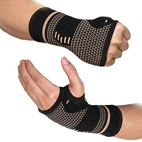 FITTOO Wrist Support Sleeves,Copper Infused Wrist Compression Sleeve Brace for Carpal Tunnel, RSI, Tendonitis, Arthritis, Wrist Sprains, Sports, Gym and More(L - Pair)
