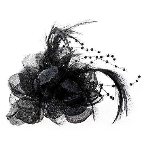 SODIAL(R) 160x100mm Broche de Tocado de pluma y de tela para la mujer, Negro