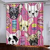 KLBPL Cortinas Opacas con Aislamiento Perro Rosa De Dibujos Animados L87 X54 W/220X215Cm Térmicas Aislantes De Salón Y Dormitorio Moderno 2 Piezas