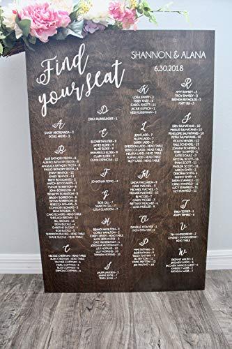 Seating Chart Wedding Alphabetical Seating Chart Wedding Seating Chart Find Your Seat Sign Seating Chart Wedding Table Plan