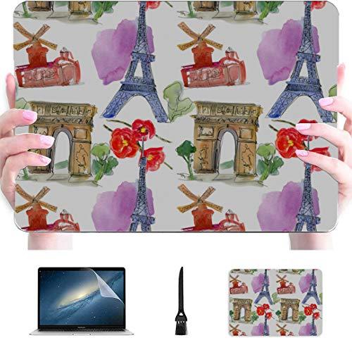 2017 MacBook Pro Case Paris Landmark Eiffel Tower Arc De Triomphe Plastic Hard Shell Compatible Mac Air 13' Pro 13'/16' MacBook Covers Protective Cover for MacBook 2016-2020 Version