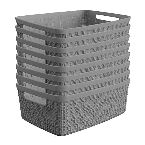 Curver Set of 8 - Perfect Bins for Home Office, Closet Shelves, Kitchen Pantry and All Bedroom Essentials Jute Small Decorative Plastic, Grey