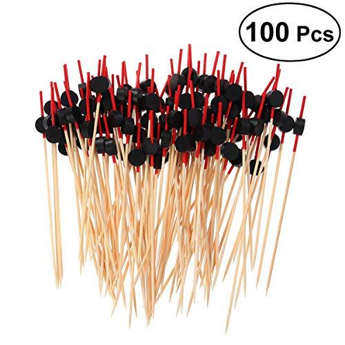 YeahiBaby Lebensmittelpicks Cocktail, Obst, Appetizer, Drink Picks Sticks Einweg-Holz Zahnstocher Partyzubehör (ca. 100 Stück, Schwarze Flache Perlen)