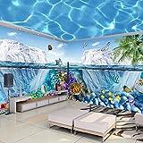 Mural de pabellón temático del mundo submarino de ensueño personalizado, tienda de la madre y el bebé, papel tapiz de piscina, pared de fondo de Hotel con temática oceánica-400cmx280cm
