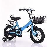 Bicicleta para Niños, 12 14 16 18 20 Pulgadas Bicicleta 3-12 Años Ruedas De Entrenamiento con Canasta con Asa En El Asiento Trasero Rojo Rosa Azul Bicicleta para Niños Pequeños