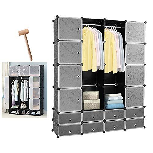 wolketon 16 Würfel Regalsystem Kleiderschrank DIY Garderobenschrank Schwarz Kunststoff Aufbewahrung Garderobe für Schlafzimmer mit Türen 180 * 142 * 37CM