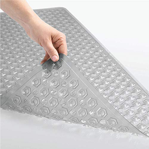 Gorilla Grip Patented Bath Tub and Shower Mat, 35x16, Machine Washable, Extra Large Bathtub Mats with Drain Holes and Suction Cups to Keep Floor Clean, Soft on Feet, Bathroom Accessories, Gray