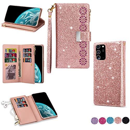Hancda Brieftasche Hülle für Samsung Galaxy Note 20 Ultra, Handyhülle Tasche Glitzer Leder Flip Case Geldbörse Cover Reißverschluss Kartenfach Magnet Klapphülle für Galaxy Note 20 Ultra,Rose Gold